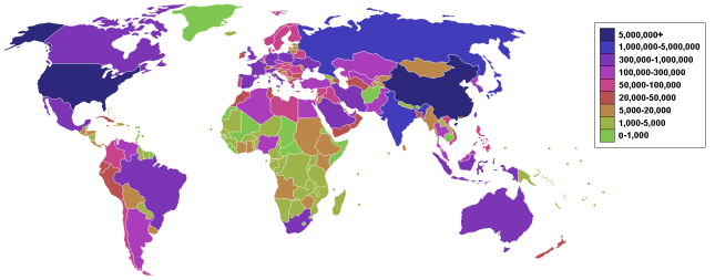 Carbon emission levels per country