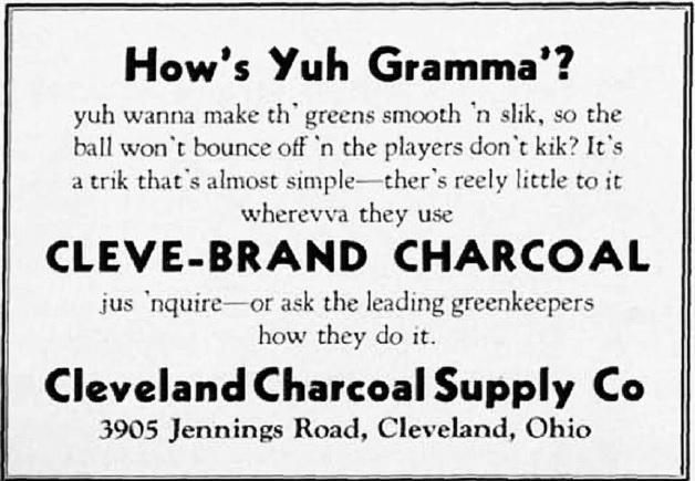 Anuncio de 1933 que publicita el uso del biochar como enmienda del suelo. Fuente: The National Greenkeeper.